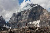 Image of hiker below Mount Victoria, Plain of Six Glaciers