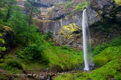 Image of Hiker and Elowah Falls, Columbia River Gorge