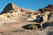 Image of hiker on Golden Canyon trail, Death Valley