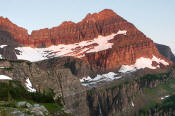 Image of early light on Cathedral Peak in Glacier National Park.