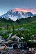 Image of Mount Rainier and pink lenticular.