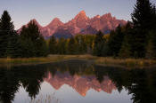 Image of Tetons reflection at Schwabacher Landing at sunrise, Grand Teton National Park