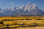 Image of Grand Teton above fence in autumn, Grand Teton National Park