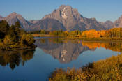 Image of Mount Moran and aspen reflection at Oxbow Bend in Autumn, Grand Teton National Park