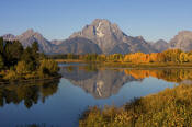 Image of Mount Moran and autumn colors reflected at Oxbow Bend, Grand Teton National Park