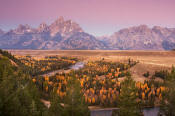 Image of Grand Teton from Snake River Overlook in autumn, Grand Teton National Park