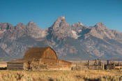 Image of Grand Teton above barn on Mormon Row, Grand Teton National Park