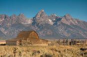 Image of Grand Teton above barn in Mormon Row, Grand Teton National Park