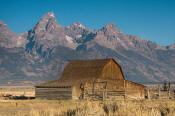 Image of barn on Mormon Row below Grand Teton, Grand Teton National Park
