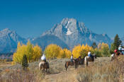 Image of horseback riders below Mount Moran in autumn, Grand Teton National Park