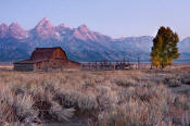 Image of Mormon Row barn below Grand Teton, Grand Teton National Park