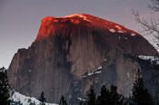 Image of Alpenglow on Half Dome.