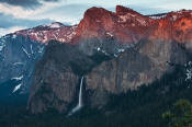 Image of Cathedral Spires and Bridalveil Fall at sunset.